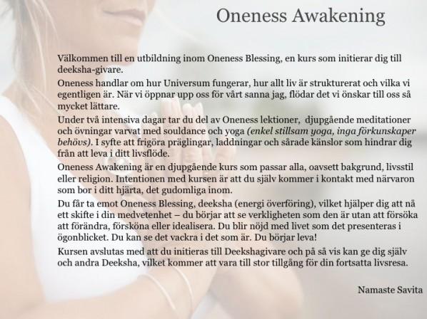 Oneness Awakening kursinbjudan